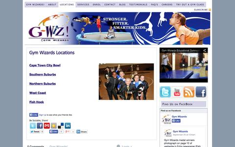 Screenshot of Locations Page gymwizards.co.za - Locations - captured Oct. 1, 2014
