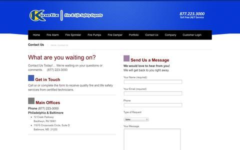 Screenshot of Contact Page kinetixfire.com - Contact Us   Kinetix FireKinetix Fire - captured Oct. 6, 2014