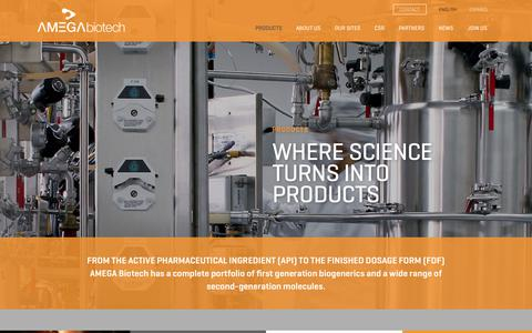 Screenshot of Products Page amegabiotech.com - Amega |   Products - captured July 22, 2017