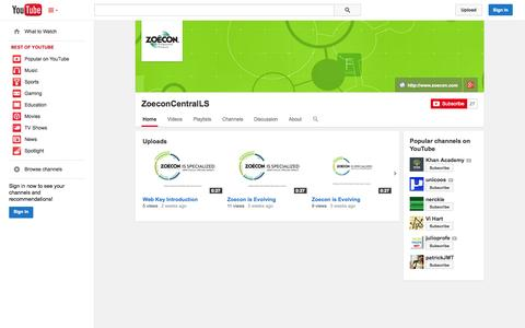 Screenshot of YouTube Page youtube.com - ZoeconCentralLS  - YouTube - captured Oct. 27, 2014
