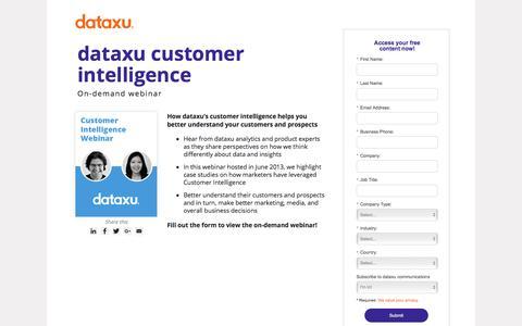 Screenshot of Landing Page dataxu.com - Webinar Replay: Customer Intelligence and analytics - captured March 1, 2018