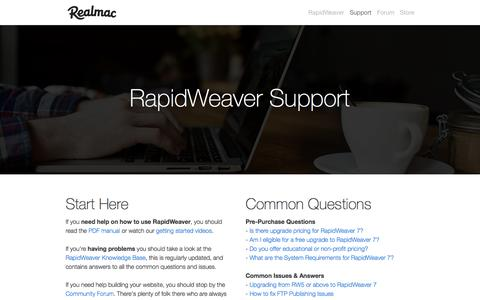 Screenshot of Support Page realmacsoftware.com - Help & Support for RapidWeaver - captured Oct. 21, 2016