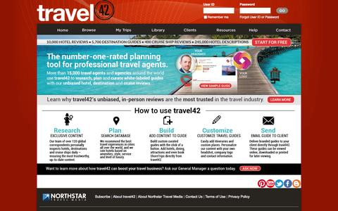 Screenshot of Home Page travel-42.com - travel42 - Hotel reviews, destination guides and travel alerts for travel professionals - captured Nov. 17, 2015