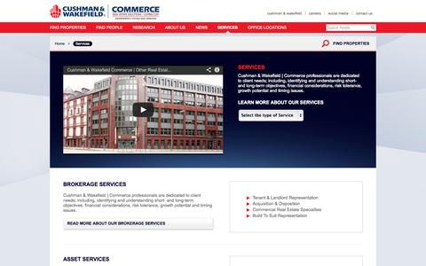 Screenshot of Services Page comre.com - Commercial Real Estate Services | Commerce Real Estate Solutions | C & W - captured Sept. 23, 2014