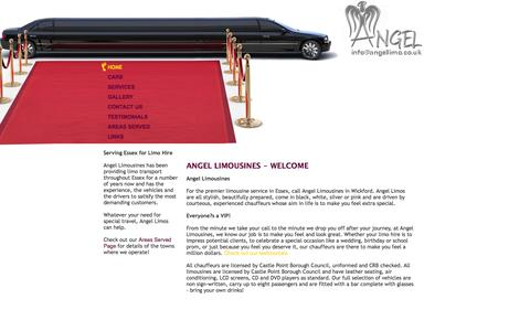 Screenshot of Home Page angellimo.co.uk - Limo Hire in Essex   Limousine Hire in Essex  Chauffeur Driven Limo   Angel Limousines, Southend, Essex, London, UK - captured Oct. 4, 2014