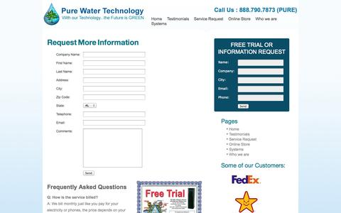 Screenshot of Trial Page ditchthebottle.com - Request More Information | Ditch The Bottle - Pure Water Technology - captured Oct. 3, 2014