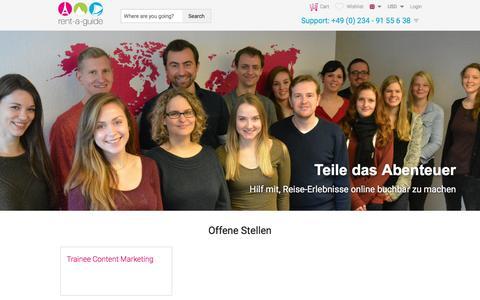 Screenshot of Jobs Page rent-a-guide.com - Jobbörse | rent-a-guide Karriere - captured Sept. 23, 2018