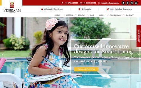 Screenshot of Home Page vishraam.com - Flats in Thrissur | Luxury Apartments in Thrissur | Vishraam Builders - captured May 24, 2019