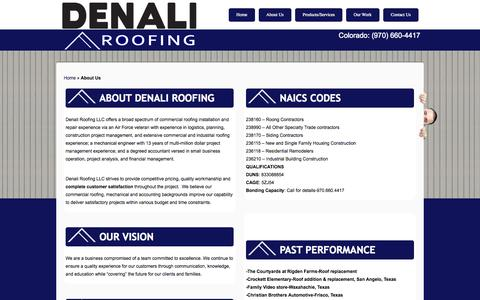 Screenshot of About Page denaliroofs.com - About Us | Denali Roofing - captured Oct. 5, 2014