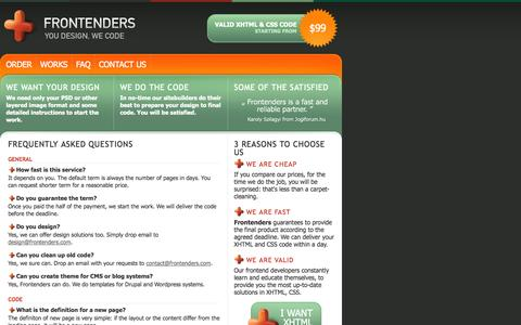 Screenshot of FAQ Page frontenders.com - Frequently Asked Questions | Frontenders.com: XHTML & CSS slicing service - captured Oct. 6, 2014
