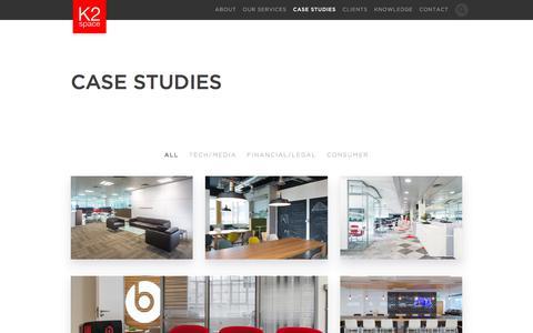 Screenshot of Case Studies Page k2space.co.uk - Office Design Case Studies - K2 Space - captured June 8, 2017
