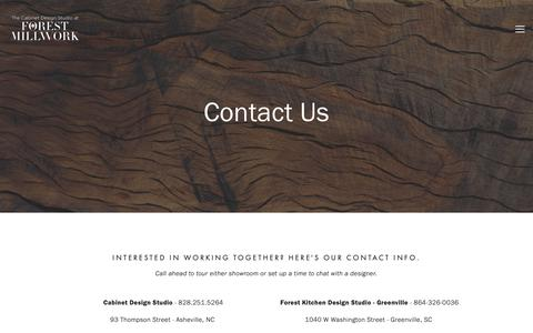 Screenshot of Contact Page forestmillwork.com - Contact Us-Forest Millwork - captured Oct. 10, 2018