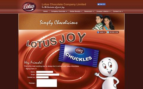 Screenshot of Signup Page lotuschocolate.com - Lotus Chocolate Company Limited - captured Nov. 13, 2016