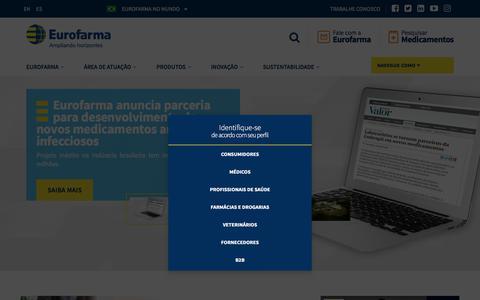 Screenshot of Home Page eurofarma.com.br - Eurofarma | Ampliando horizontes - captured Aug. 23, 2018