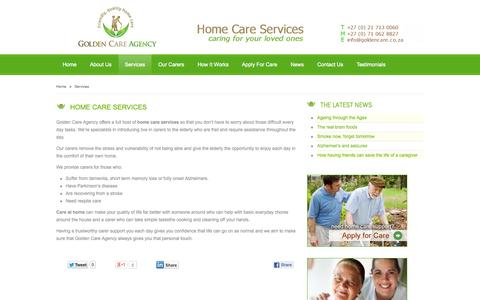 Screenshot of Services Page goldencare.co.za - Care Services - Golden Care Agency - captured Oct. 3, 2014