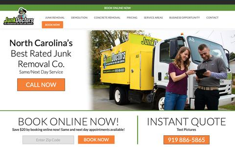 Screenshot of Home Page junkdrs.com - Junk Removal Raleigh | Junk Removal Service | Junk Doctors - captured March 23, 2019