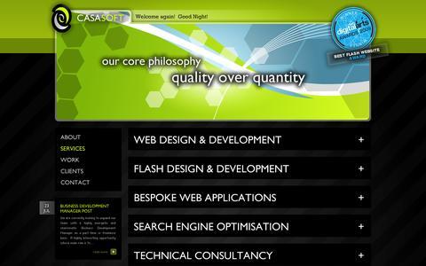 Screenshot of Services Page casasoft.com.mt - Services - Web Design, Malta, Europe - CasaSoft | Website design and development, flash, software, hosting and graphics - captured Sept. 30, 2014