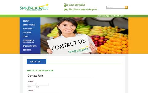Screenshot of Contact Page starbrokerage.com - Star Brokerage | sales, marketing, and retail services - captured Oct. 6, 2014