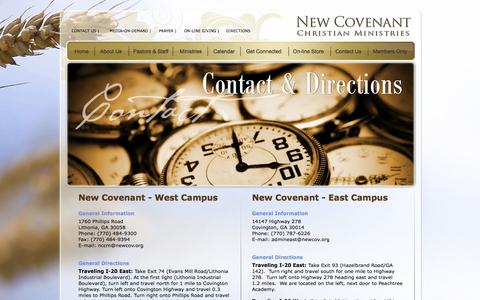 Screenshot of Contact Page Maps & Directions Page newcov.org - Contact & Directions - captured Oct. 25, 2014