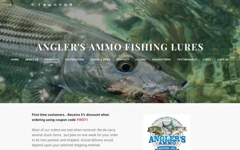 Screenshot of Products Page anglers-ammo.com - Angler's Ammo Bucktail Jigs - captured July 30, 2018