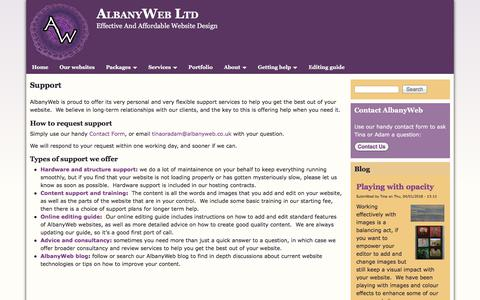Screenshot of Support Page albanyweb.co.uk - Support | AlbanyWeb Ltd - captured July 5, 2018