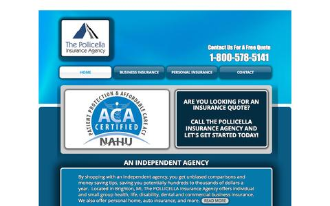 Screenshot of Home Page tpiaonline.com - The Pollicella Insurance Agency - captured Sept. 19, 2015