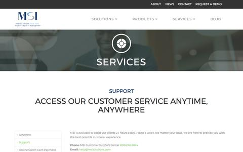 Screenshot of Support Page msisolutions.com - 24/7 Customer Support for Your Hotel PMS | MSI Solutions - captured Oct. 25, 2017