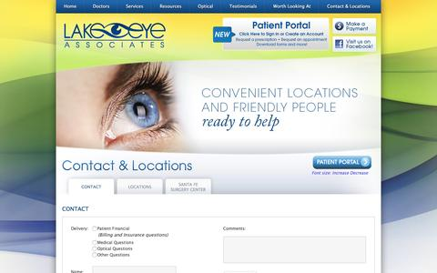 Screenshot of Contact Page Locations Page lakeeye.com - Lake Eye Associates - Eye Doctors - Eye Care and Optical Center - The Villages, Leesburg, Tavares - captured Oct. 19, 2016