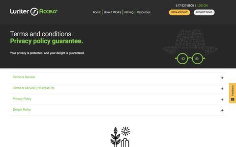 Screenshot of Terms Page writeraccess.com - Legal - WriterAccess - captured Jan. 4, 2020