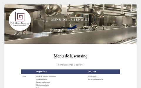 Screenshot of Menu Page emm.lu - Menu de la semaine - École Maria Montessori - Luxembourg - captured Oct. 23, 2016