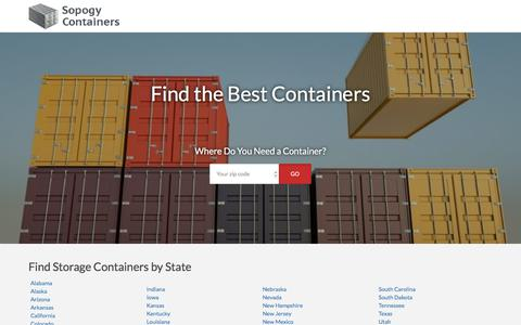 Screenshot of Locations Page sopogy.com - Storage Containers By State | Sopogy - captured July 13, 2018