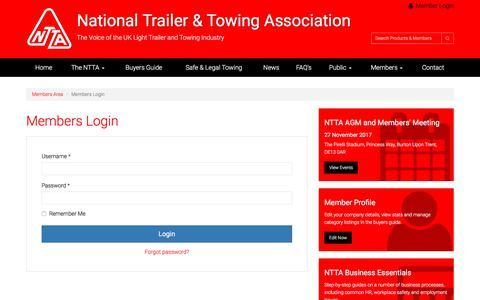 Screenshot of Login Page ntta.co.uk - Members Login | NTTA Members Area - captured July 5, 2017