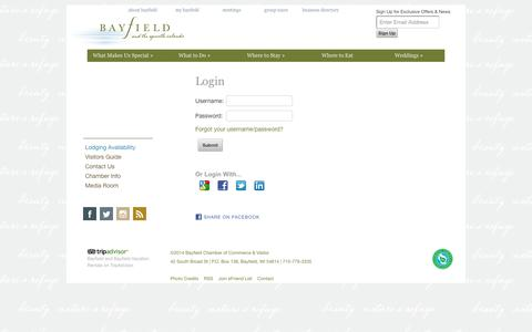 Screenshot of Login Page bayfield.org - Login - Bayfield and the Apostle Islands - Chamber of Commerce | Bayfield Chamber and Visitor Bureau - captured Oct. 5, 2014