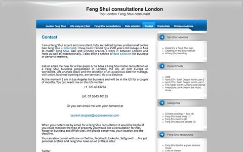 Screenshot of Contact Page spacessential.com - Contact the London Feng Shui expert – Top London Feng Shui consultant - captured June 13, 2016