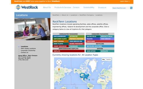 Screenshot of Locations Page rocktenn.com - RockTenn Company - Locations - captured Dec. 2, 2015