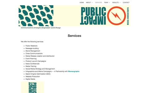 Screenshot of Services Page publicimpactpr.com - Services | PUBLIC IMPACT - captured Nov. 14, 2016