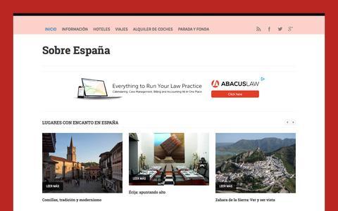 Screenshot of Home Page sobreespana.com - Sobre España -  Hoteles, vuelos, viajes y turismo - captured June 4, 2016
