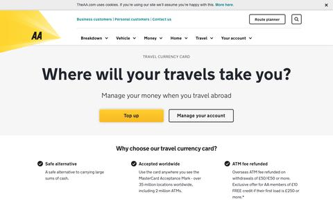 Screenshot of theaa.com - Travel Currency Card - manage your money abroad | AA - captured Nov. 6, 2017