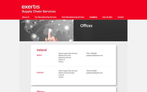 Screenshot of Locations Page exertissupplychain.com - Exertis Supply Chain Services: office locations worldwide | Exertis Supply Chain Services - captured Feb. 2, 2016