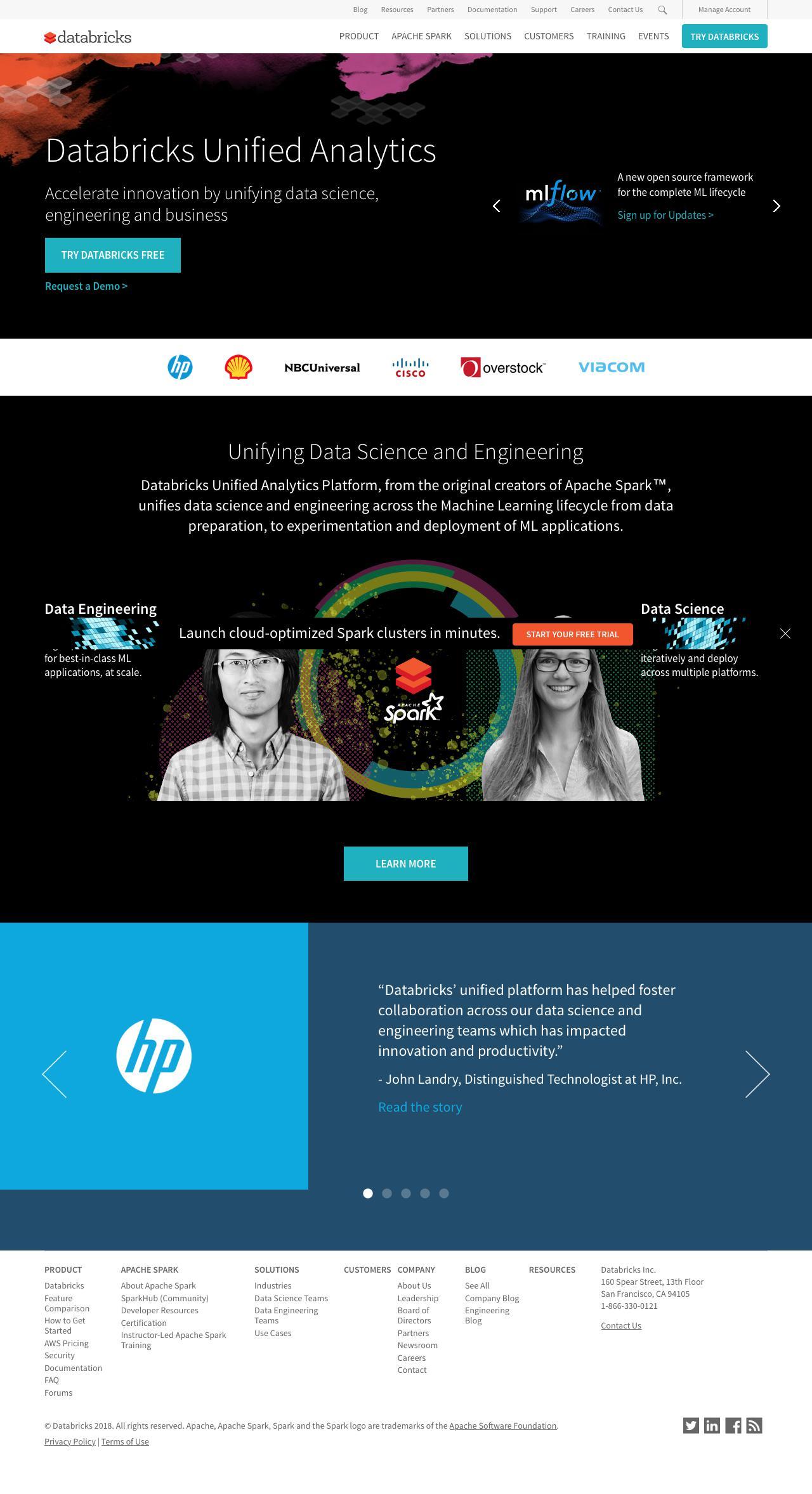 Screenshot of databricks.com - Databricks - Making Big Data Simple - captured June 8, 2018