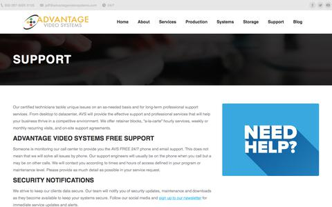 Screenshot of Support Page advantagevideosystems.com - Support | AVS - captured July 29, 2018