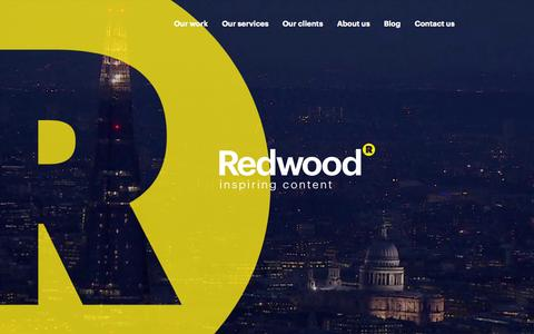 Screenshot of Home Page redwoodlondon.com - Redwood - the world's leading content marketing agency |  Redwood - captured Sept. 19, 2014