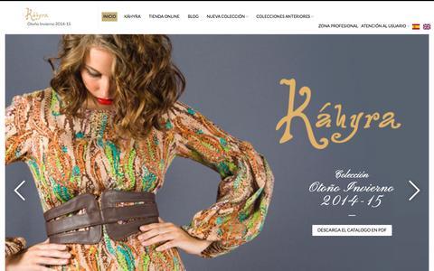 Screenshot of Home Page kahyra.com - KÁHYRA MODA — Otoño Invierno 2014-15 - captured Sept. 30, 2014