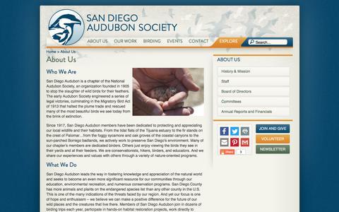 Screenshot of About Page sandiegoaudubon.org - About Us - captured July 27, 2018