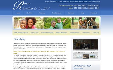 Screenshot of Privacy Page rrlpa.com - Privacy Policy | Russo, Rosalina & Co., LPA | Cleveland Ohio - captured Oct. 7, 2014