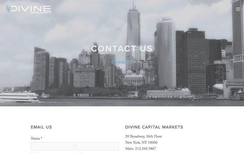 Screenshot of Contact Page divinecapital.com - Contact Us — Divine Capital Markets - captured Oct. 12, 2017