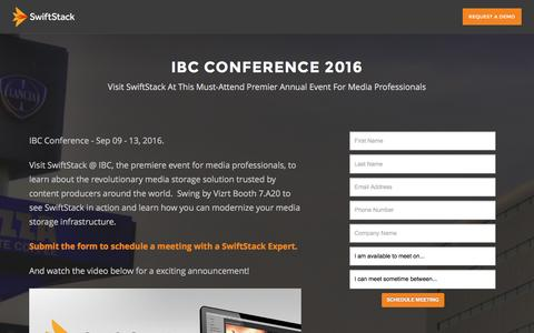 Screenshot of Landing Page swiftstack.com - SwiftStack at IBC Conference 2016 - captured Oct. 29, 2016
