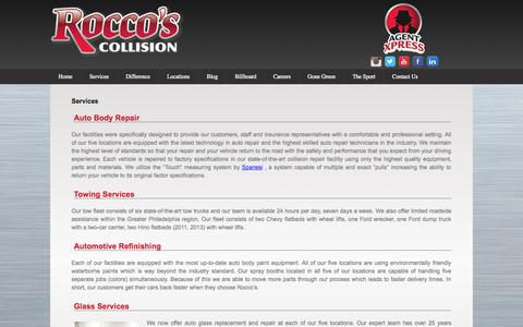 Screenshot of Services Page roccoscollision.com - Auto Refinishing | Towing Services | Glass Replacement - Pennsylvania | Rocco's Collision - captured Oct. 6, 2014