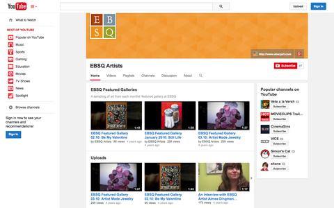 Screenshot of YouTube Page youtube.com - EBSQ Artists  - YouTube - captured Oct. 22, 2014