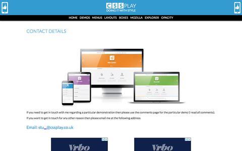 Screenshot of Contact Page cssplay.co.uk - Stu Nicholls   CSS PLAY   Contact Page for CSS PLAY - captured Nov. 15, 2019